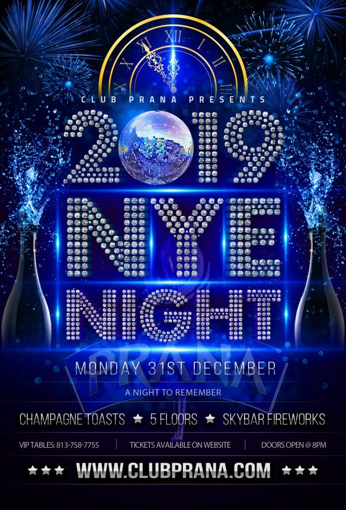1 new years eve 2019 in tampa bay club prana monday december 31st